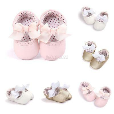 Cute Baby Girls Bow Princess Infant Kids Soft PU Casual Toddler Crib Shoes 0-18M
