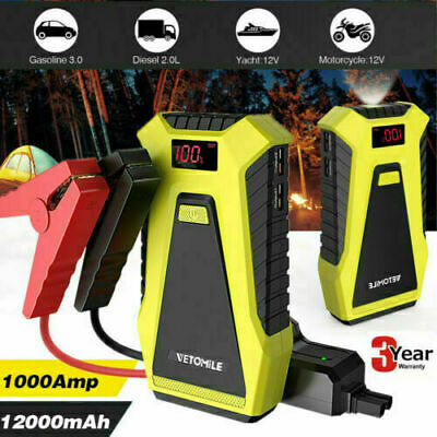 1000A Car Jump Starter Pack Booster Battery Charger Power Bank 3L Gas 2L Diesel