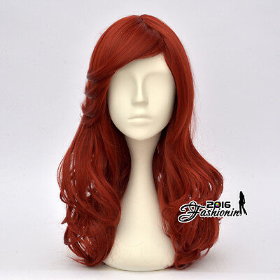 55CM Lolita Party Orangish Red Curly Cosplay Halloween Wig Heat Resistant+ Cap