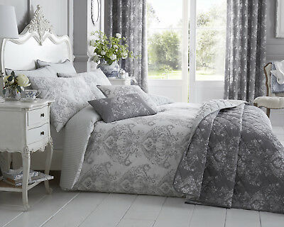 Toile Reversable Designed Floral Bedding Range Duvet Cover in Grey All Sizes