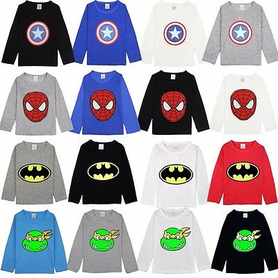 The Avengers Kids Boys T-Shirt Summer Long Sleeve Tee Shirt Children Size 2T-7