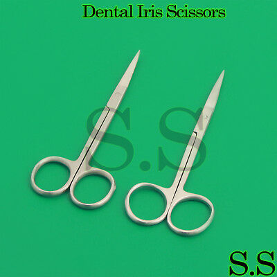 "Dental Iris Scissors Straight and Curved 4.5"" Veterinary Surgical Instruments"