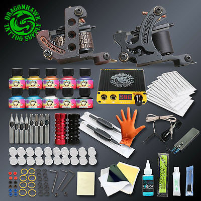 Pro Complete Tattoo Kits Set Tattoo Machine Power Supply Guns Immortal Color Ink