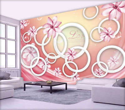 Pink Butterfies Disc 3D Full Wall Mural Photo Wallpaper Printing Home Kids Decor