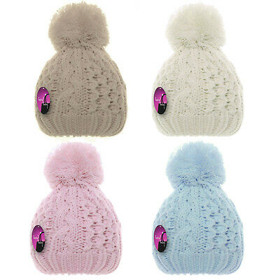 Baby Warm Winter Hat Thick Wooly Double Knitted Cable Bobble Pompom Girls Boys
