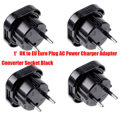 UK to EU Euro Plug AC Power Charger Adapter Converter Socket Black Travel ON