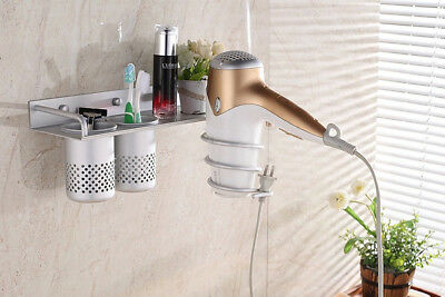 Bathroom Organizer Wall Mount Shelf Hair Dryer Comb Holder Hanging Rack Stand