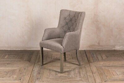 French Style Upholstered Dining Chair Button Back Chair In Stone Linen