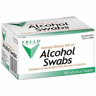 Triad Alcohol Pre-Injection Swabs Isopropyl 70% - Antiseptic Wipes (100 Packets)