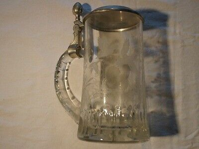 Bierkrug mit Zinndeckel - 3 Enten & 1 Truthuhn - 1/2 Liter - Made in W. Germany