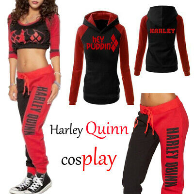 Harley Quinn Sport Gym clothing Hoodie /T-shirt / Trousers Halloween Cosplay Lot