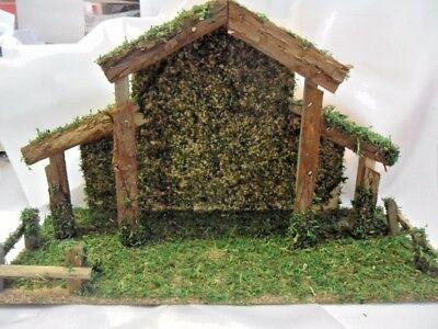 "Nativity stable /crib / shed. Natural bark, moss, chipboard 14"" x 9"" x 6"""