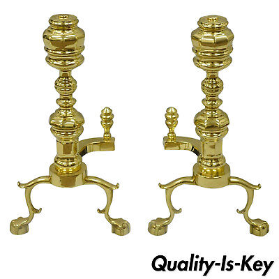 Pair The Harvin Co Brass Williamsburg Style Branch Foot Ball and Claw Andirons