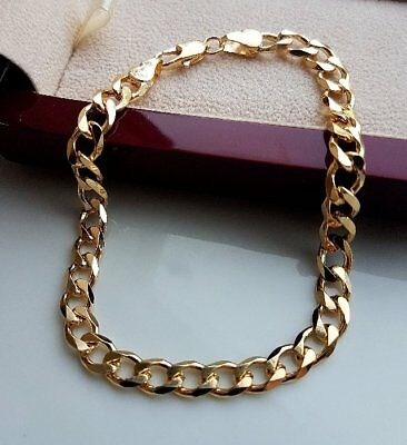EXTRA LARGE STAMPED SOLID 9ct gold curb bracelet gf STUNNING,ALMOST SOLD OUT  96