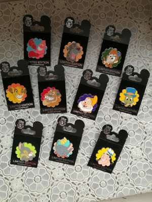 Disney Grins Mystery Pins Complete Set of 10 LE Chasers Beast Simba Dumbo Happy