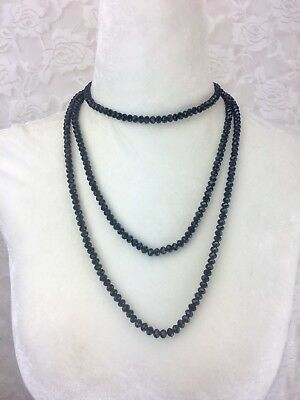 Classic Faceted Glass Black Necklace Crystals Beads Beaded Extra Long