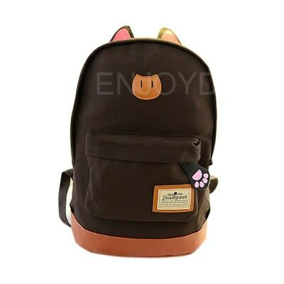 Fashion Women Cute Lovely Cat Canvas Travel Satchel backpack School bag coffee