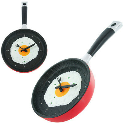 Kitchen Wall Clock Novelty Frying Pan Fried Egg 19cm Quartz various colours