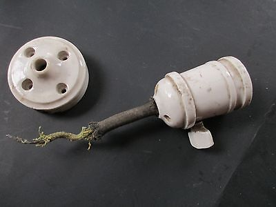 ANTIQUE porcelain hanging pendant light fixture socket INDUSTRIAL old LAMP PARTS
