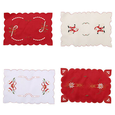 Christmas Santa Claus Table Placemats Coaster Cover Mat Cutlery Holder Hoilday