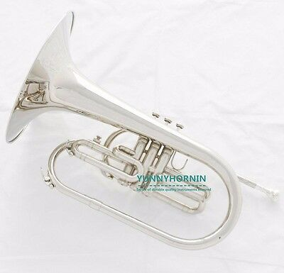 High Quality Marching Mellophones Band F key Silver Nickel Horn with Mouthpiece