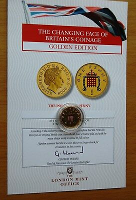 Elizabeth II 2002 Gold Layered One Penny Coin Accented In Colour On Reverse COA@
