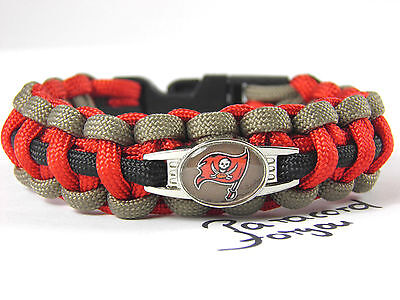 Tampa Bay Buccaneers Paracord Bracelet with NFL Charm Men armband-2 cm wide