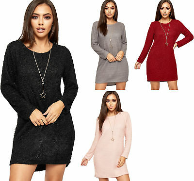 Womens Fluffy Knitted Necklace Long Sleeve Stretch Ladies Jumper Mini Dress 8-14
