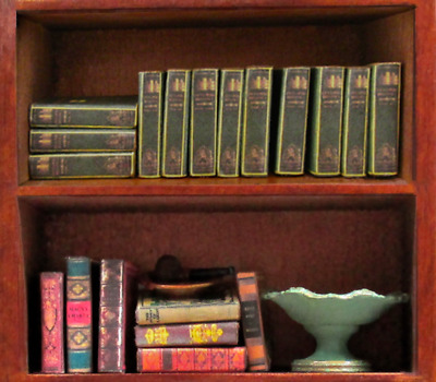 12 ENCYCLOPEDIA BOOKS Miniature Dollhouse 1:12 Scale Fill Bookshelf Prop Book