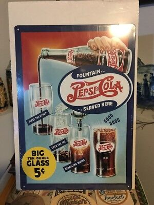 Retro Pepsi-Cola Ad Metal Sign - New!!!