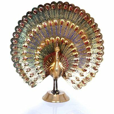 Nice Peacock Statues Decorative Colorful Brass Collectible Home Office Xmas Gift
