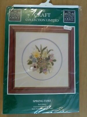 Craft Collection Springtime Crewel Embroidery Kit Flower Pansy Viola Primula