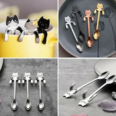 Cat Stainless Steel Teaspoons That Sweeten Your Coffee And Day!  Silver Colour 1