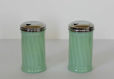 Jadeite Glass SWIRL SUGAR DISPENSERS Set of 2 Pourer Diner Style
