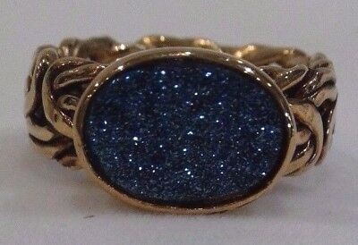 Vintage Gold Plated 925 Sterling Silver Titanium Blue Druzy Ring Sz 8