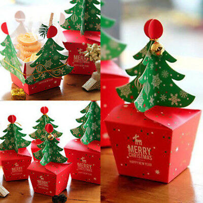 Lots Merry Christmas Tree Bell Party Paper Boxes Candy Gift Cupcake Carrier Bags