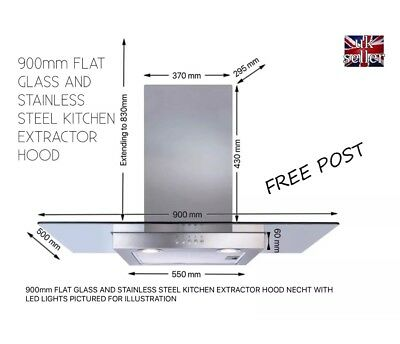 90Cm Kitchen Extractor Hood Flat Glass And Stainless Steel Wall Mounted Free Pos