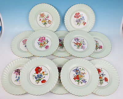 Set 12 Hand Painted Floral Minton Dinner Plates English Porcelain Green & Gold