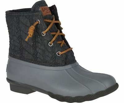 Sperry Top-Sider Women's Saltwater Rope Embossed Duck Boot Grey Sizes 7-9.5 M