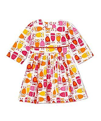 Noa Lily Girl's Corduroy Owl Dress (Pink, 4T)