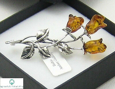NATURAL BALTIC AMBER STERLING SILVER 925 BROOCH ROSE  Hand Craved Certified