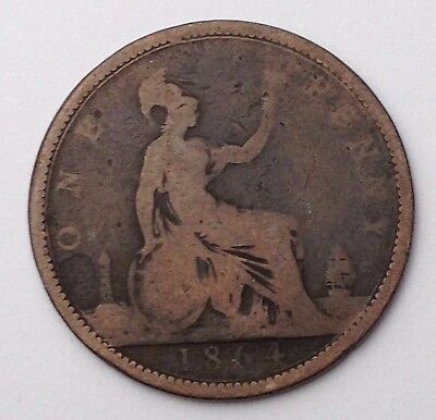 Dated : 1864 - One Penny / 1d - Coin - Queen Victoria - Great Britain