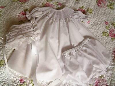 Ready To Smock White Baby Bishop Dress, Bloomers, And Bonnet Size 3 Months