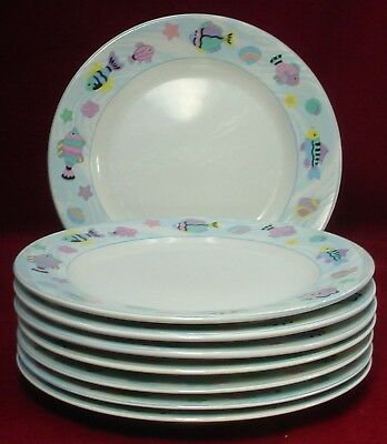 "VITROMASTER china SEA SIDE pattern DINNER PLATE 10-3/4"" Set of EIGHT (8)"