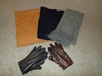 Winter Lot - 3 Men's Scarves Brown/Grey/Navy Blue - 2 Pairs Gloves - Isotoner