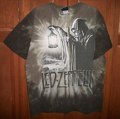 Vintage LED ZEPPELIN Tie Dye T shirt by Liquid Blue HERMIT with Lantern LARGE