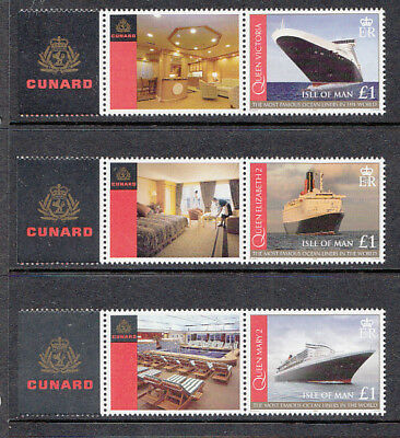 Isle of Man   2008  Ocean Liners  Set of 3  mnh  Sheet Stamps with Labels