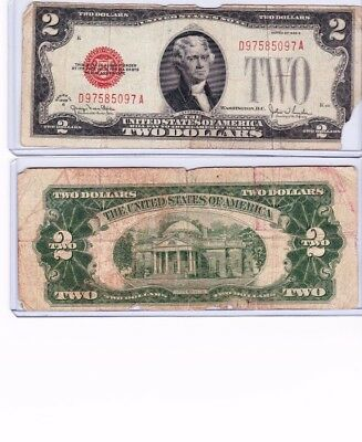 1928 red seal bill circulated $2 bill with new currency protector deal