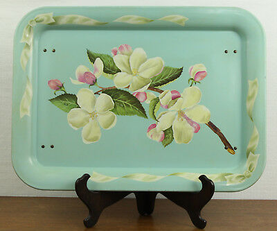 VINTAGE Turquoise Floral Metal Bed Lap Tray w/Folding Legs Retro Shabby Cottage