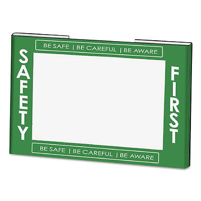 NuDell Clear Plastic Sign Holder w/Safety First Border Green/White/Clear 11 x 8